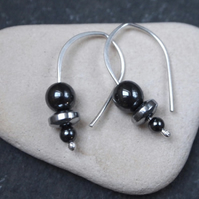 Hematite silver drop earrings