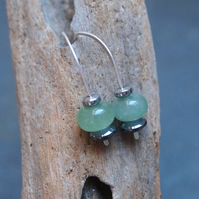 Aventurine silver drop earrings