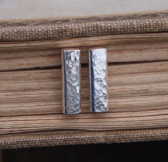 Silver stud earrings, rods, sterling Silver