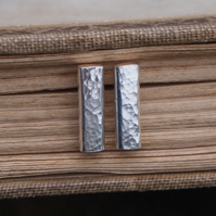 Studs, Silver Bar Stud Earrings
