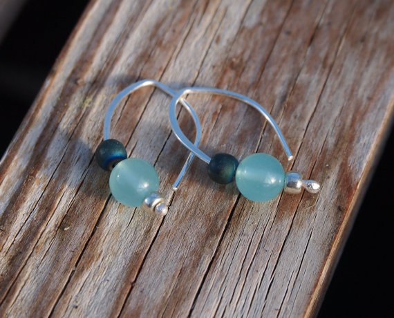 Earrings - aqua glass bead drop earrings