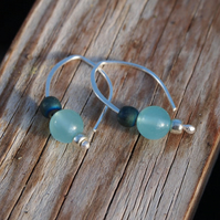 Silver drop earrings - aqua glass bead earrings