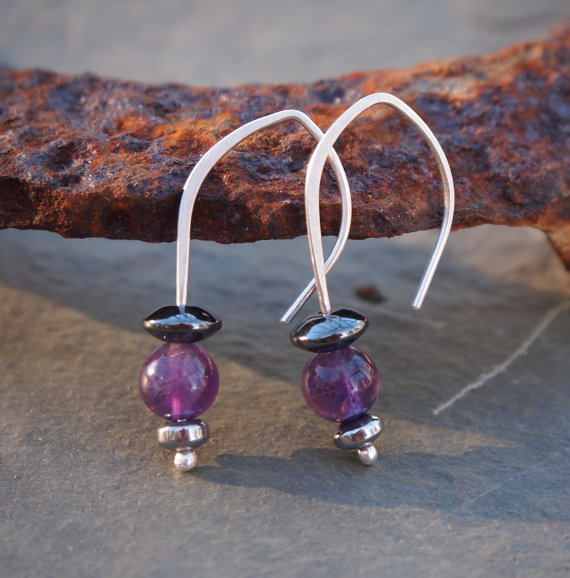 Earrings, amethyst drop earrings, sterling silver