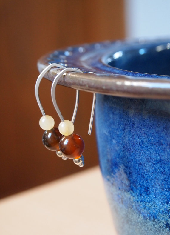 Agate & silver drop earrings