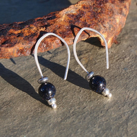 Earrings, blue goldstone bead drop earrings