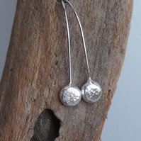 Earrings, silver pebble drop earrings