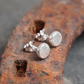 Round silver stud earrings, recycled silver