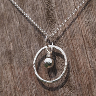 Sterling Silver Pendant - pebble pendant - ring pendant
