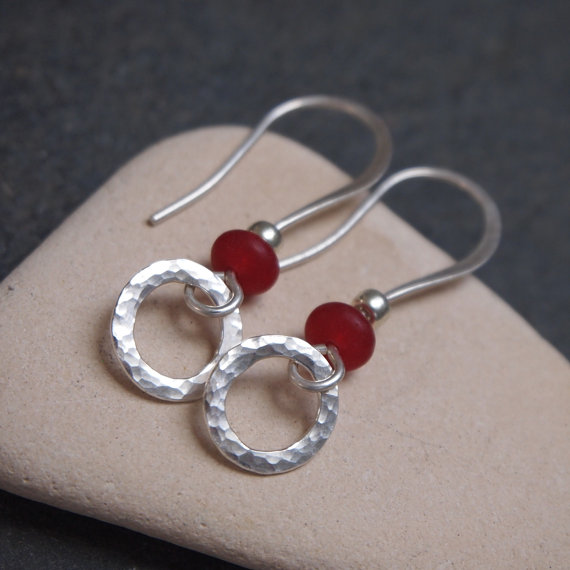 Silver hoop jade earrings, handmade jewellery