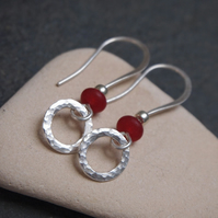 Silver hoop jade earrings