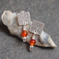 Carnelian Earrings, Silver Stud Earrings