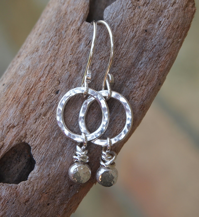 Silver dangle earrings, hoop earrings