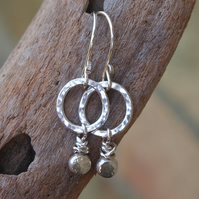 Silver hoop pebble drop earrings, silver jewellery