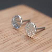 Studs, Sterling silver stud earrings, hammered silver