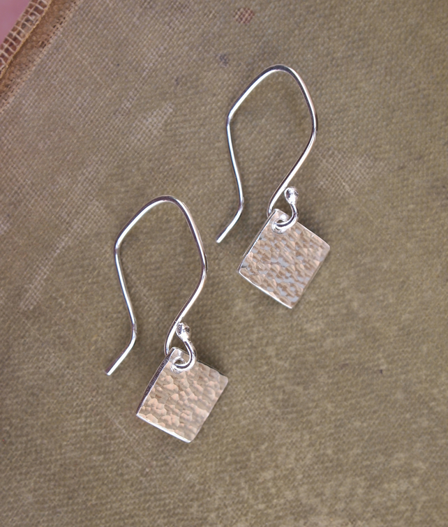 Earrings, Square Dangle Earrings, Silver Earrings