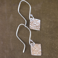 Earrings, Sterling Silver Square Dangle Earrings