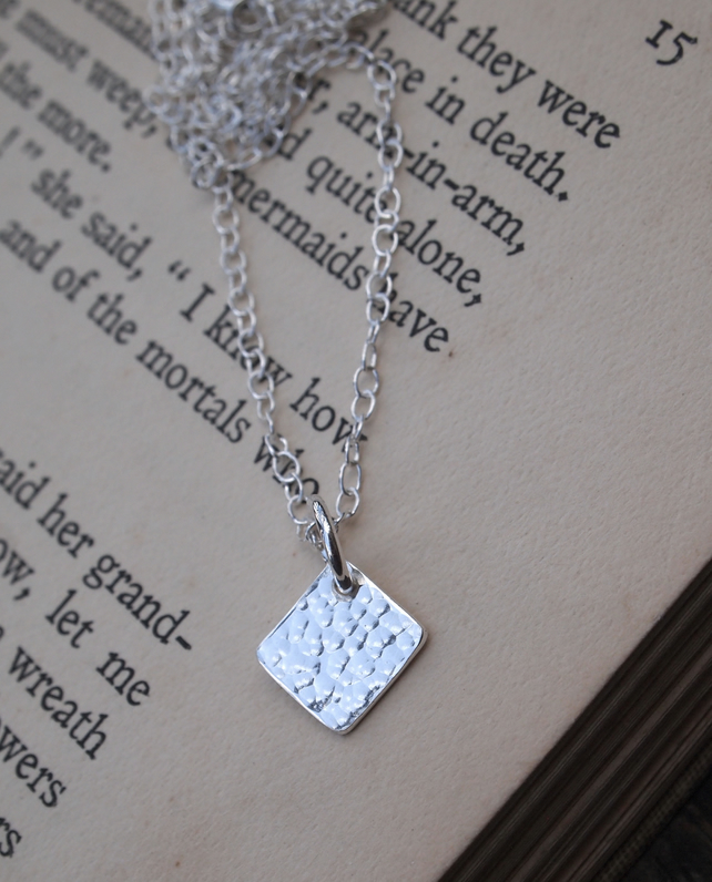 Square necklace, silver necklace, minimalist necklace