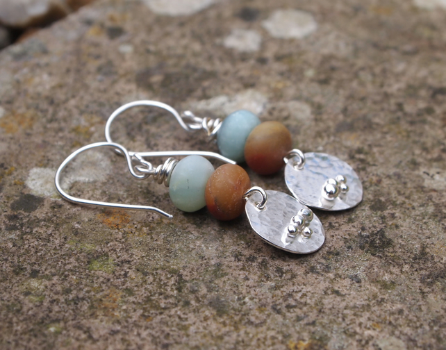 silver earrings, amazonite earrings, handmade