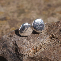 Recycled silver studs, hypoallergenic silver, 7mm diameter