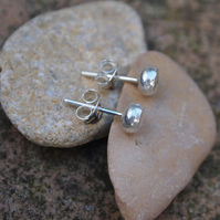 Earrings, hammered pebble earrings