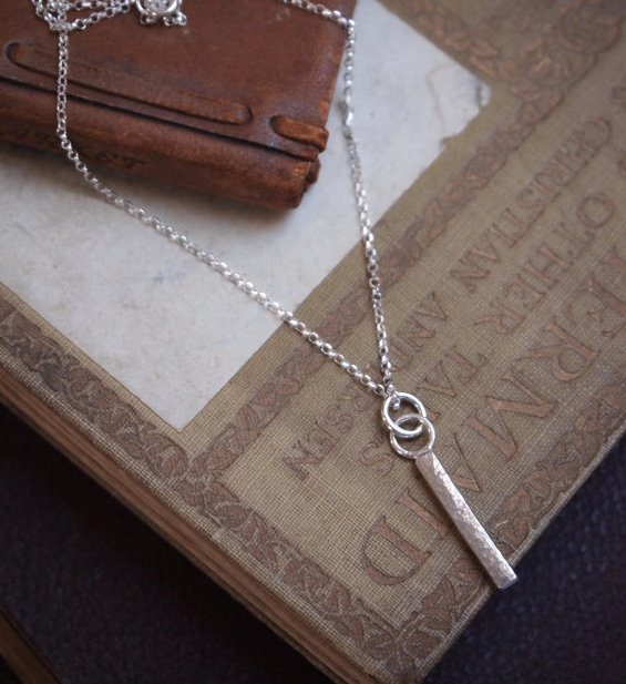 Silver Necklace - Solid silver rod necklace pendant