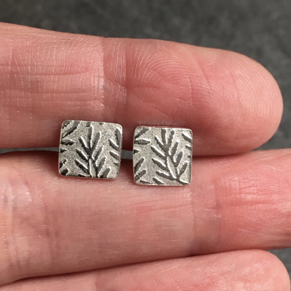 Silver Stud Earrings, Silver Leaf Earrings, Silver Earring Studs