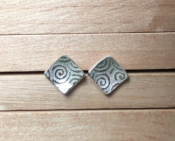 Silver Stud Earrings, Silver Spiral Earrings