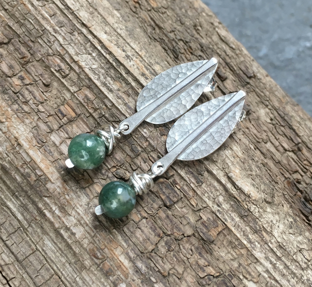 Studs, Silver Stud Earrings, Tree Earrings with Green Moss Agate