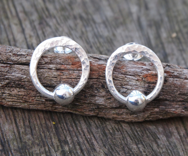 Studs, silver hoop stud earrings