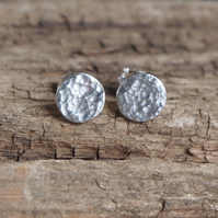 Sterling silver hammered stud earrings, round silver studs