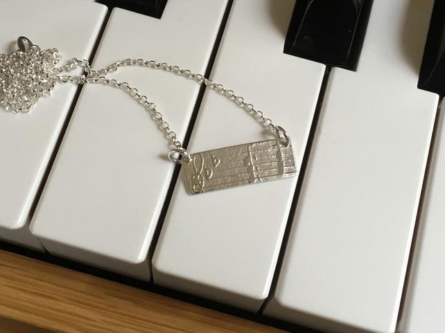 """SALE""  silver necklace, music, notes necklace"