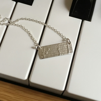 silver necklace, music, notes necklace