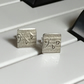 Square Earrings, Silver Stud Earrings, Square Studs, Sterling Silver Sheet Music