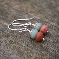 Earrings, Silver & Frosted Amazonite Earrings
