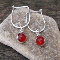 Silver carnelian earrings, silver drop earrings