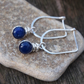 Silver blue sodalite earrings, silver drop earrings