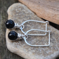 Silver black onyx earrings, silver drop earrings