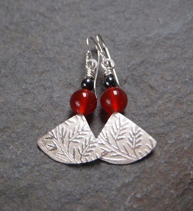 Silver fan carnelian earrings