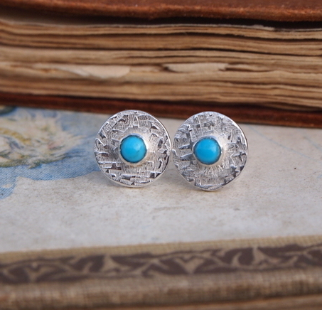 """ SALE "" Turquoise stud earrings, silver studs"