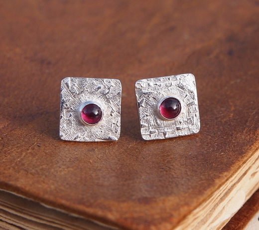 Studs, Garnet Stud Earrings