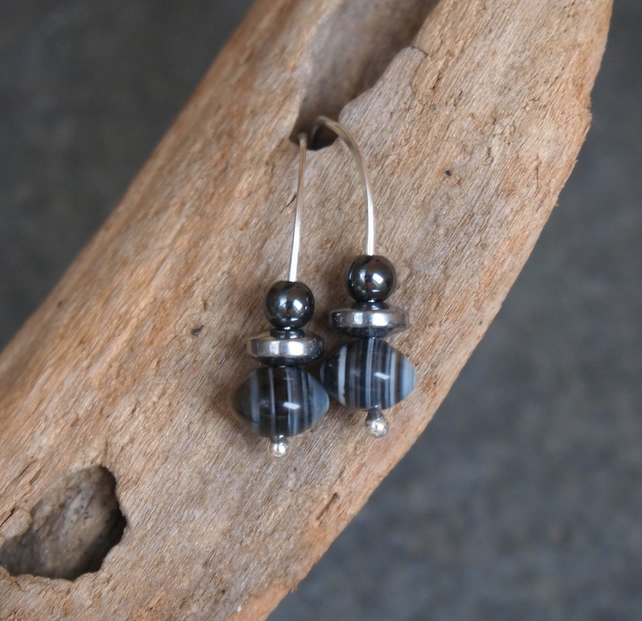 Silver drop earrings, banded agate, bead earrings, handmade silver jewellery