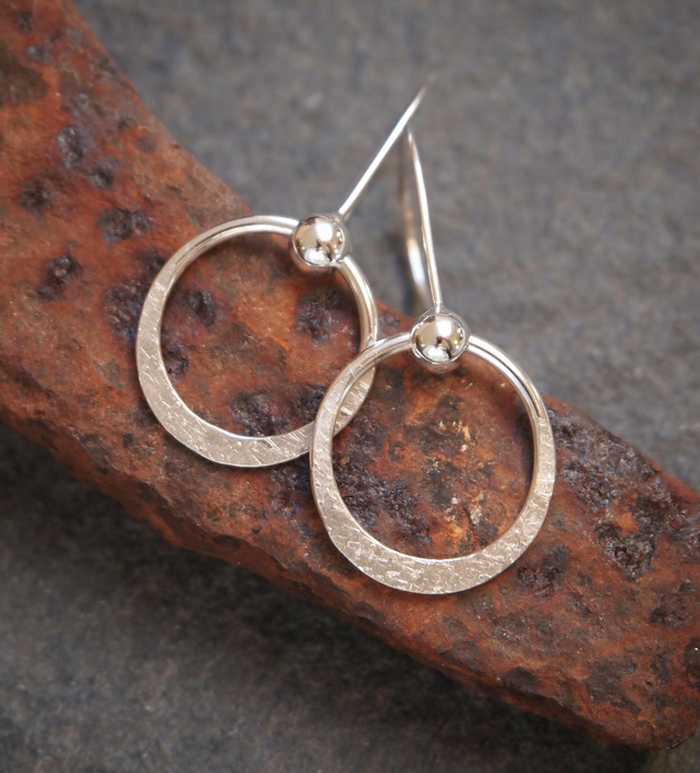 Silver hoop earrings, dangle hoop earrings, silver jewellery