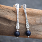 Silver stud earrings with blue goldstone