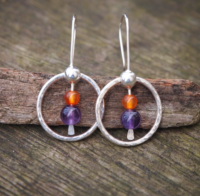 silver earrings, amethyst earrings, hoop earrings, carnelian, sterling silver