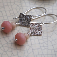 Leaf drop earrings, silver earrings with rose jade