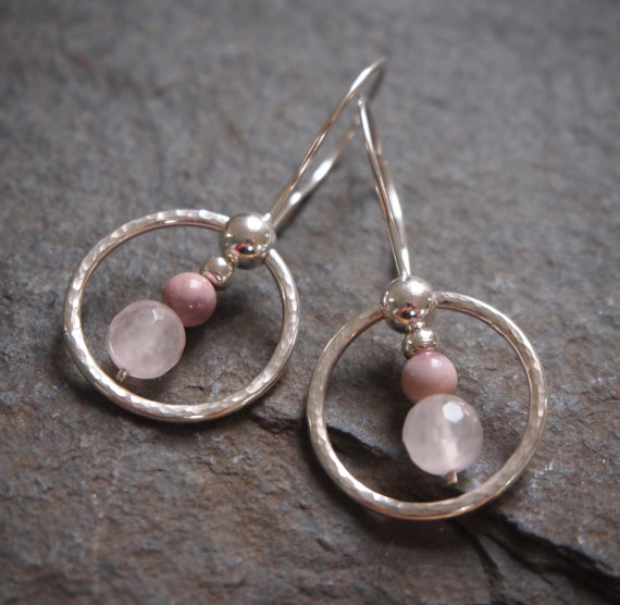 hoop earrings, silver hoop earrings with rose quartz