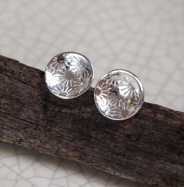 silver flower earrings, flower stud earrings, silver jewellery