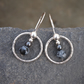 Snowflake obsidian silver hoop earrings