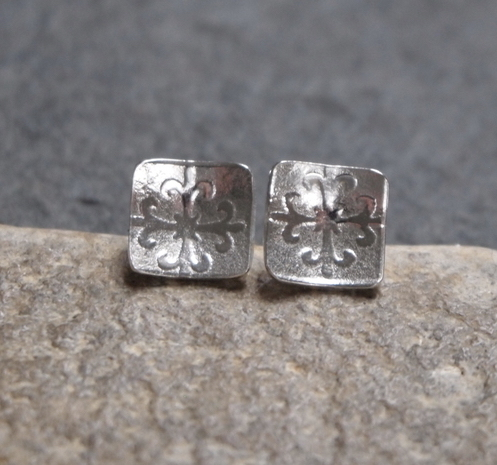 Argentium silver earrings, square earrings, silver studs