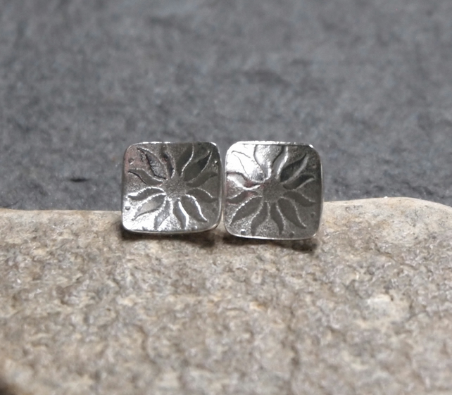Argentium silver square stud earrings, silver studs,